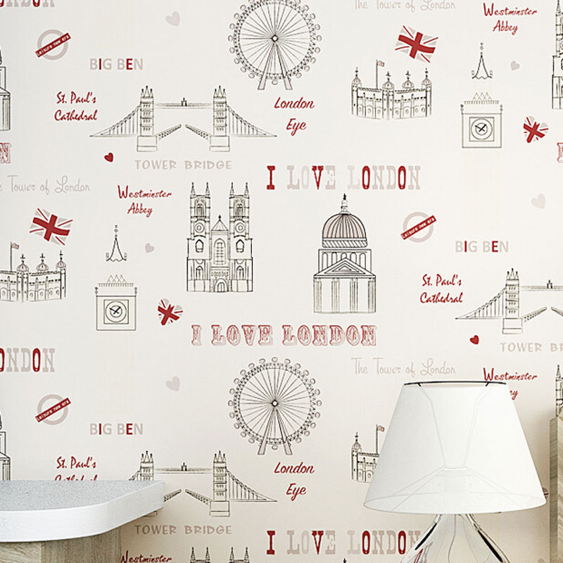beibehang papel parede England Style Cartoon Tower Kids Room Colorful Wall Decor Mural Wall paper Ecofriendly murals Wallpaper beibehang lovely abc print kid bedding room wallpapers ecofriendly fantasy non woven wall paper children mural wallpaper roll