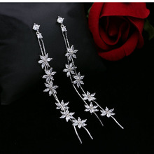 Korean sterling silver needle flower zircon earrings fashion temperament jewelry banquet wedding long tassel earrings female 833(China)
