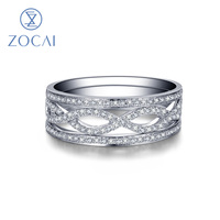 ZOCAI New Arrival Three In One 3 PCS Ring Set 0 28 CT Certified Diamond Wedding