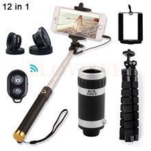 Best price 12in1 8X Zoom Telephoto Lens Microscope Telescope Tripod Selfie Stick Macro Wide Angle Fisheye Lentes For iPhone 7 6 Smartphone