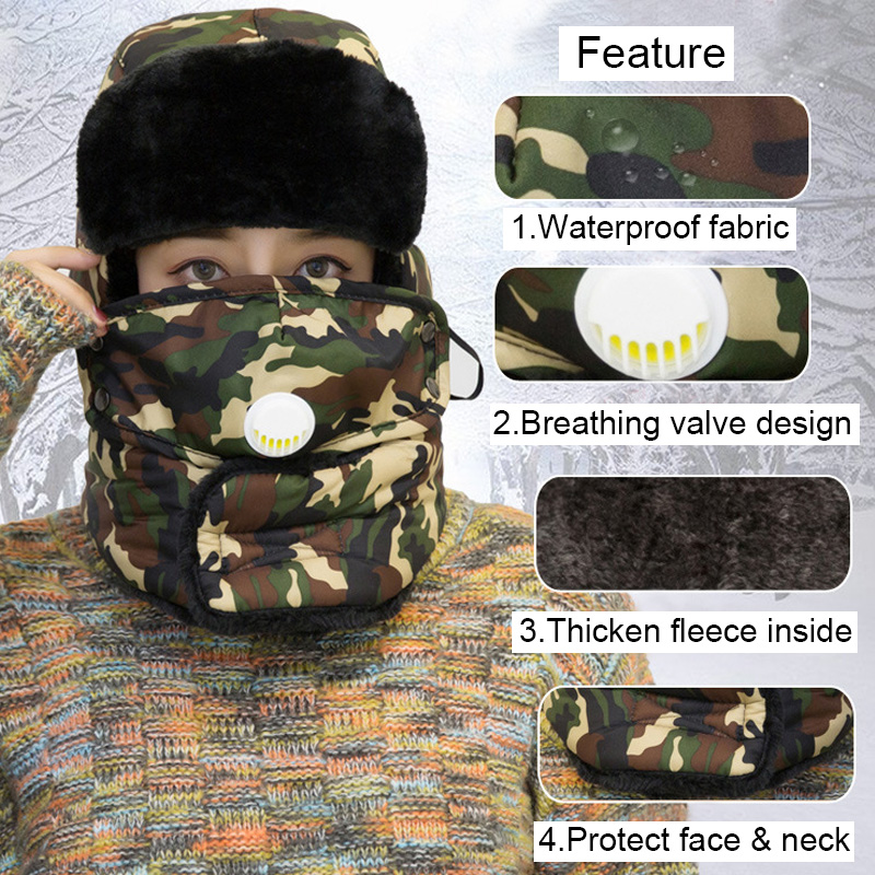 HTB1ORlQeW5s3KVjSZFNq6AD3FXaW Winter Thermal Hiking Caps,Camouflage Warm Ear Neck Protector with Breathing Valve,Women Men Sports Ski Hats facemask