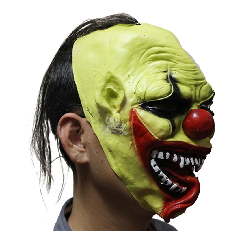 Halloween Mask party Green clown Mask Creepy Latex