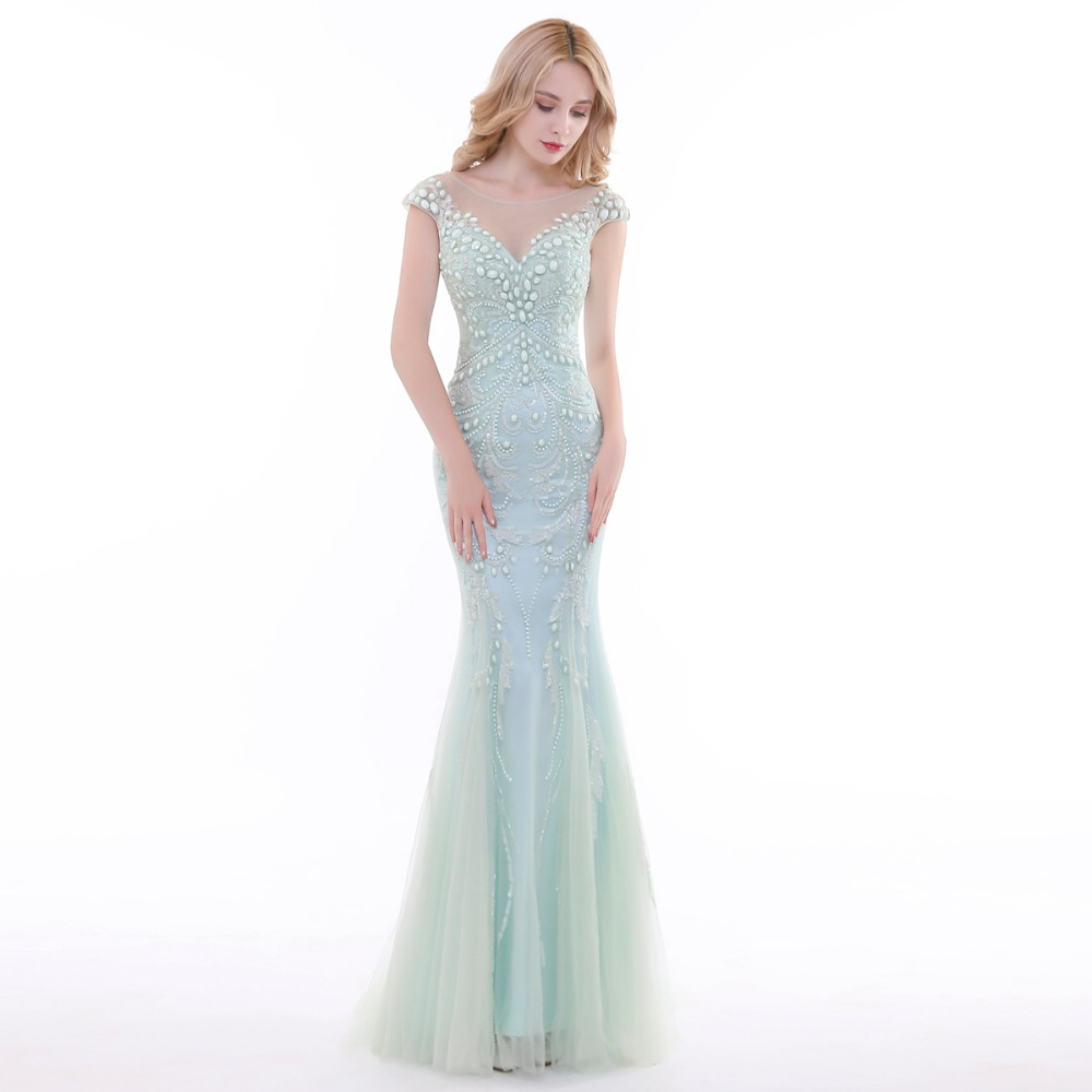 852903f013e4 Finove 2019 New Evening Dress Long Elegant Chiffon Light Green Crystals  Beading Sleeveless Mermaid Style Formal Party Dress Gown