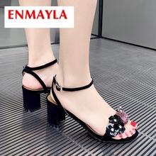 ENMAYLA  Kid Suede Basic Wedding Summer Shoes 2019 New Arrival Women High Heel Sandals Solid Flower Size 34-40 LY2357