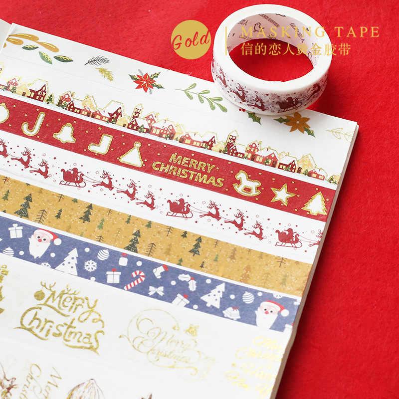 ทองคริสมาสต์Washiเทปพวงมาลาคริสต์มาสเทปกาวสมุดBronzingกระดาษตกแต่งเทปของขวัญสติกเกอร์Wraping