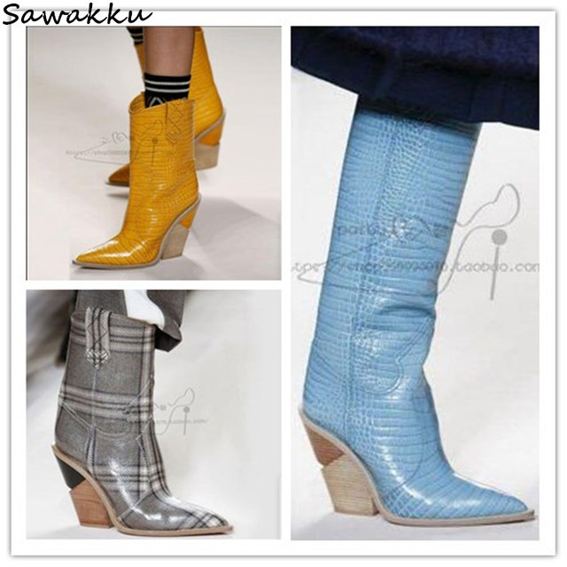 b6163860ed18 Blue Yellow Snakeskin Women Knee High Boots Leather Pointed Toe Western  Cowboy Boots Chunky Wedges Kendall Runway Shoes Woman