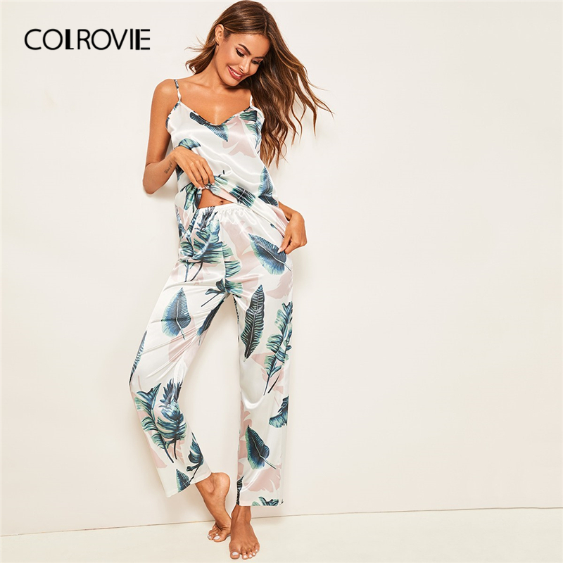 COLROVIE Tropical Print Satin Sexy Cami   Pajama     Set   Women Clothes 2019 Summer Sleeveless Casual Lounge Sleepwear Ladies Nightwear