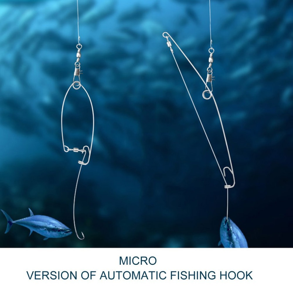 Image 5 - Mini Type Automatic Fishing Hook Stainless Steel Lazy Person Fish Hooks Universal Full Speed All The Water Fishing Accessories-in Fishhooks from Sports & Entertainment