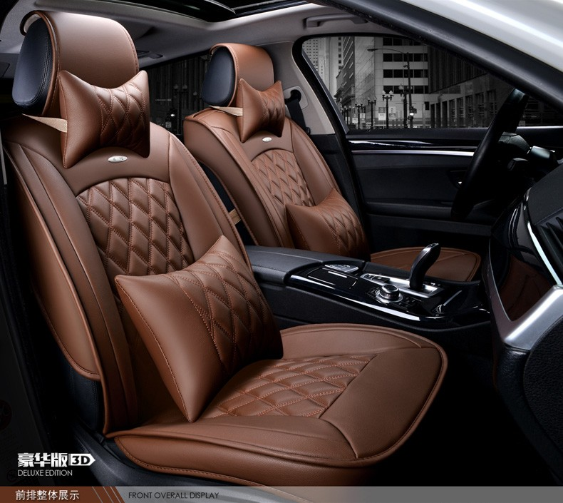 For GMC Sierra Yukon Black Brand Coffee Luxury Soft Car Leather Seat