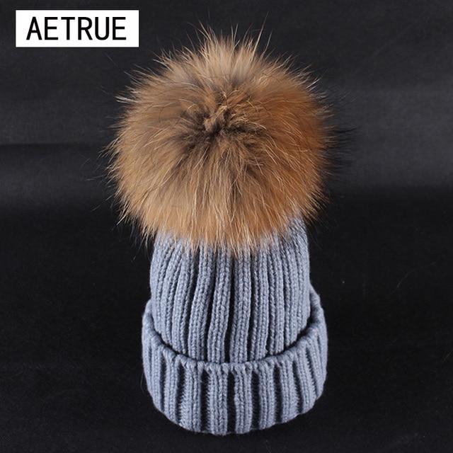 37ea704d051 Women Winter Hat Real Mink Fur Beanies Winter Hats For Women Fox Fur Pom  Poms Ball Caps Brand Bonnet Girls Skullies Hats 2018