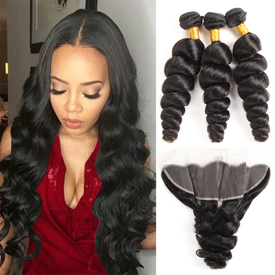 Brazilian Loose Wave Bundle With Closure 3 Bundles Human Hair Weave With Frontal 13 4Lace Frontal