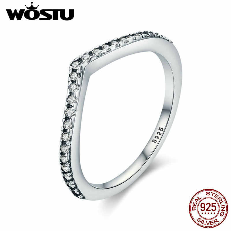WOSTU 2019 Hot 100% 925 Sterling Silver Shimmering Wish Stackable Finger Ring For Women Fashion Original Jewelry Gift XCH7649