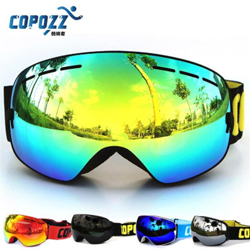 Prix pour Uv400 anti-brouillard big ski masque lunettes lunettes double couches 2017 vente chaude copozz ski hommes femmes neige snowboard largeur 17.8 cm