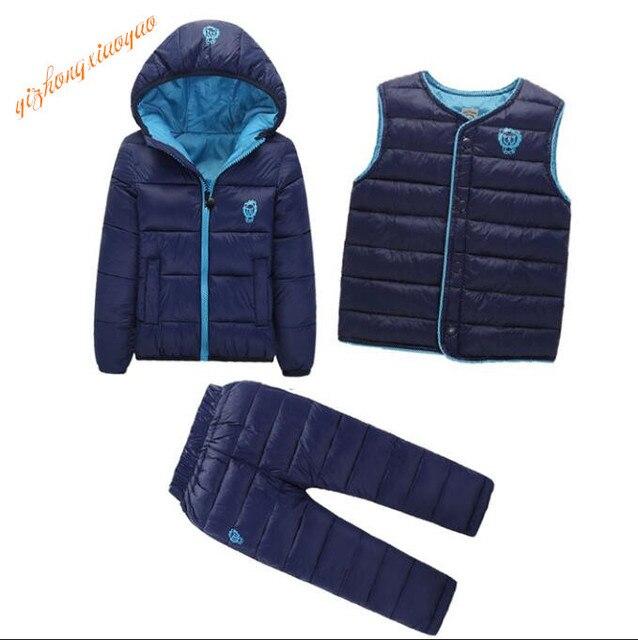 3 Pcs/1 Lot 2016 Winter Baby Girls Boys Clothes Sets Children Down Cotton-padded Coat+Vest+Pants Kids Infant Warm Outdoot Suits