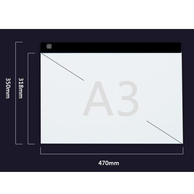 Dimmable Ultra mince A3 lumière LED tablette Pad appliquer à ue/UK/AU/US/USB Plug diamant broderie diamant peinture point de croix