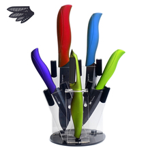 Black Blade Ceramic Knife Set 3″ 4″ 5″ 6″ Paring Utility Slicing Chef Kitchen Knife A Green Peeler + Knife Stand Cooking Tools