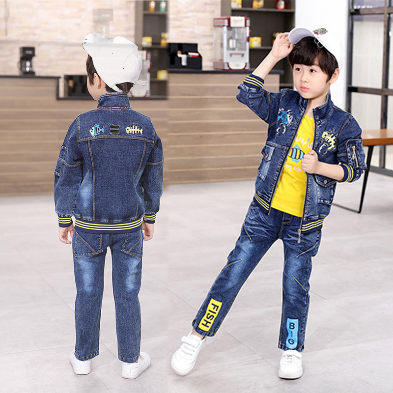 Boys Clothing Sets Spring Autumn Fashion Kids Denim Jacket T-shirt Jeans 3Pcs Outfit Children Clothes Sport Suit for 4 5 6 Years fashion 2018 spring autumn children boys girls clothes kids zipper jacket t shirt pants 3pcs sets baby clothing sets tracksuits