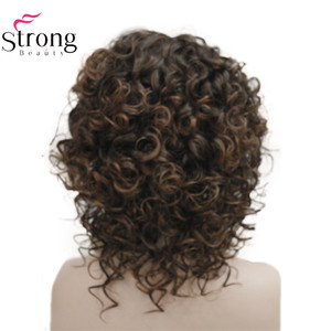 Image 5 - StrongBeauty Short Thick Dark Brown with Highlights Super Curly Layered Full Synthetic Wig for Women