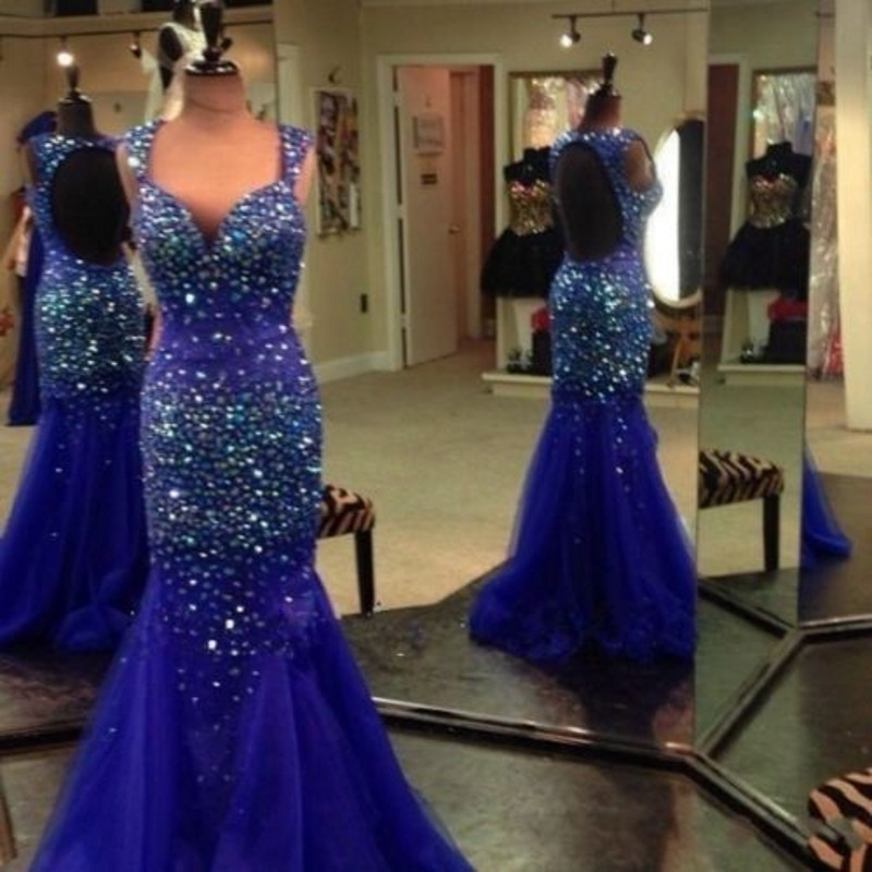d87f8e4af6 Beautiful Rhinestones Prom Dress Sparkly Royal Blue Open Back Beaded  Mermaid Tulle Evening Party Gowns Good Design