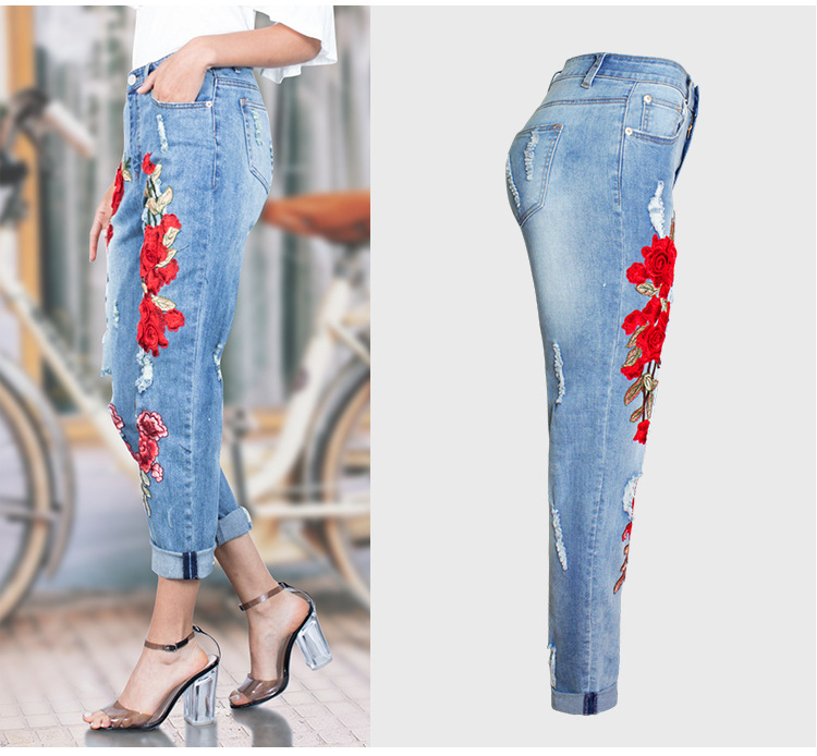2017 Europe and the United States new women stretch loose jeans women trousers color flowers 3D stereo embroidery holes jeans (4)