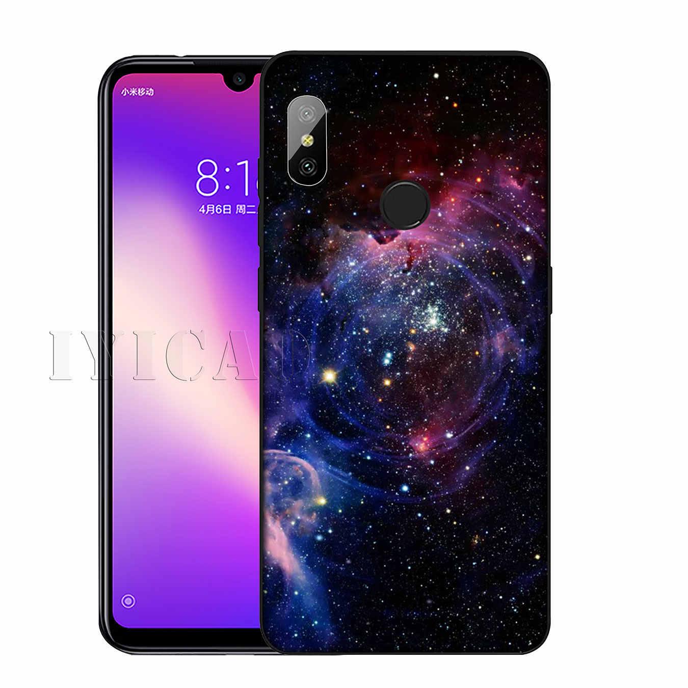 IYICAO สีม่วง Space Star Soft ซิลิโคนโทรศัพท์กรณีสำหรับ Xiaomi Redmi K20 8A 7A 6A 5A S2 4X 4A GO หมายเหตุ 8 7 5 Plus 6 Pro ฝาครอบสีดำ