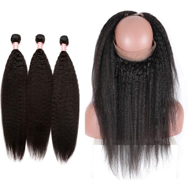 360 кружевной фронтальной с пучками бразильский странный прямые волосы расширение 3 Связки предварительно сорвал 360 Кружева Фронтальная зас
