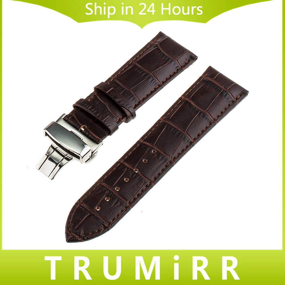 22mm 24mm Calf Genuine Leather Watch Band for Panerai PAM Luminor Radiomir Butterfly Clasp Strap Wrist Belt Bracelet Black Brown carlywet 24mm hot sell newest camo waterproof silicone rubber replacement wrist watch band strap belt for panerai luminor