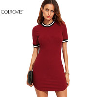 COLROVE Casual Dresses For Woman Korean Fashion Women Fall Dresses Burgundy Striped Trim Ribbed Knit Bodycon