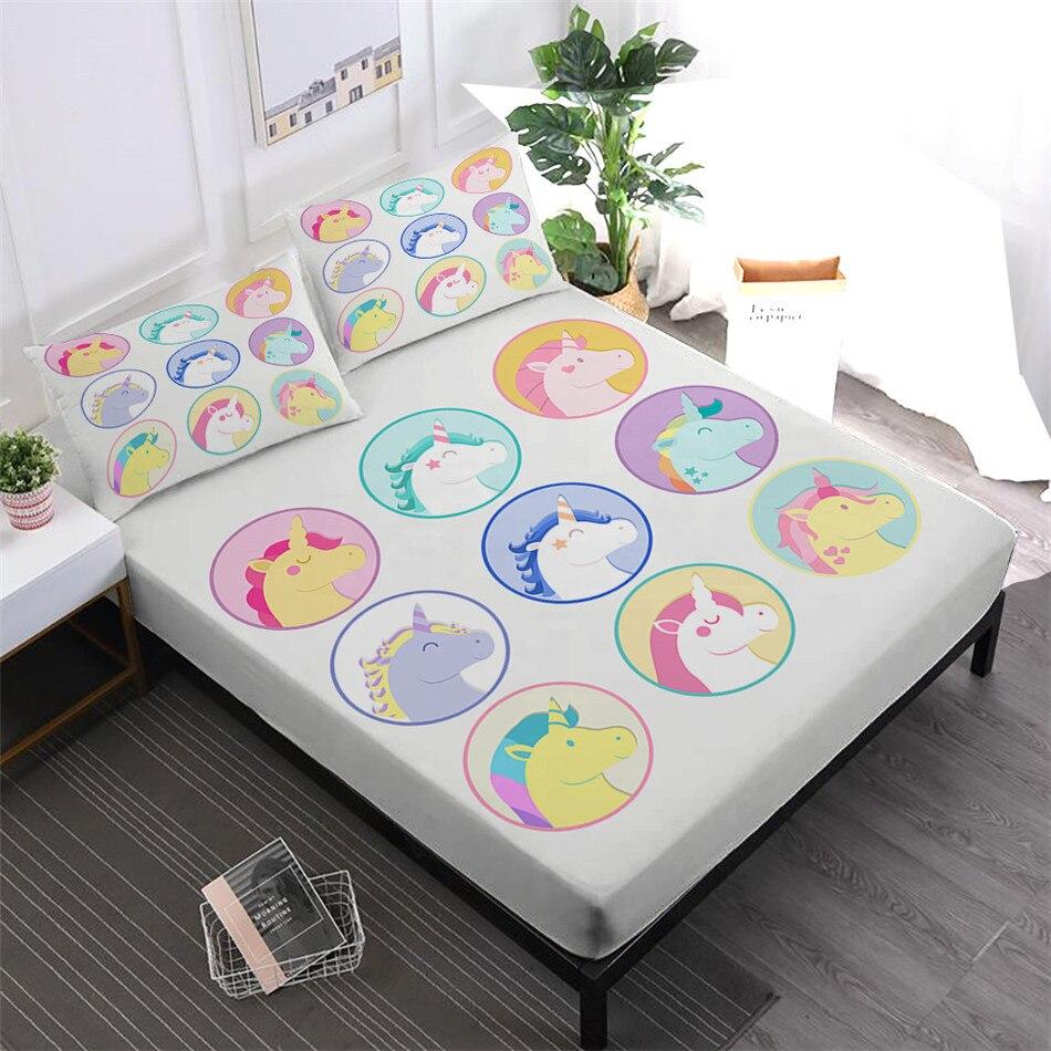 Mignon licorne imprimer draps filles doux dessin animé linge de lit drap housse matelas couverture élastique bande taie d'oreiller décor à la maison