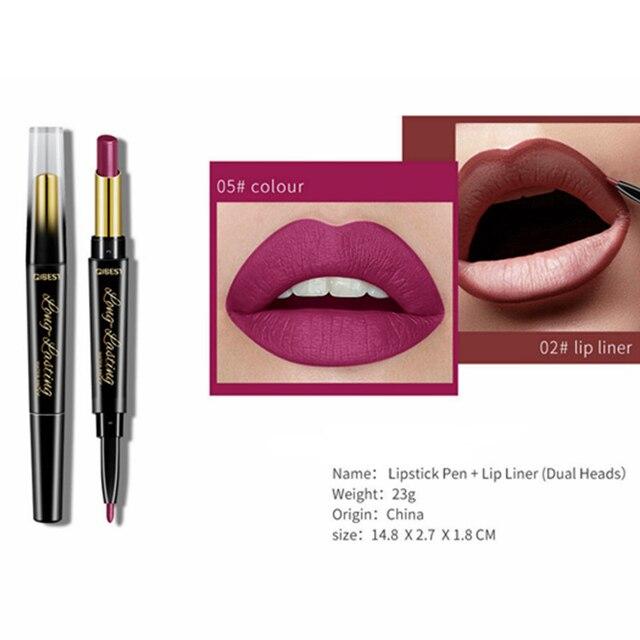 15 Color Lips Makeup Lipstick Sexy Red Lip Matte Long Lasting Lip Pencil Waterproof Stick Liner Double-end Black Matte Lipsticks 4