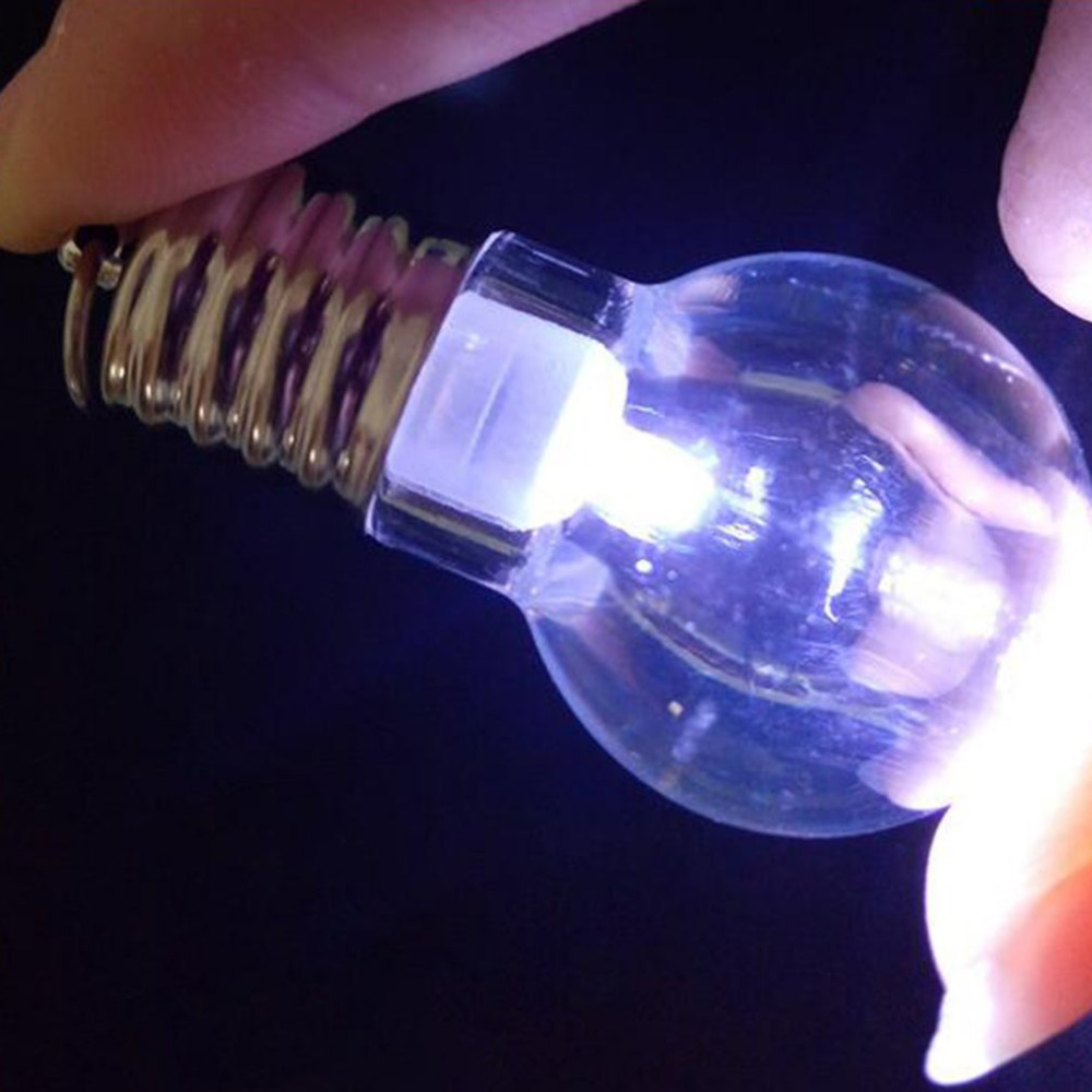 1PCS Lovely Flashlight LED Bulb Keychain White Light Torch Keyring Cute Luminous Clear Lamp small gifts novelty jewelry