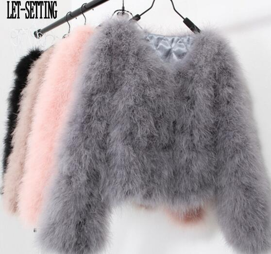 LET SETTING sexy Ostrich wool turkey real fur women coat genuine feather short plus size 7XL