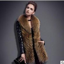 2016 Womens Fashion T Nagymaros Collar Fur Coat Winter And Autumn Pu Leather Pacthwork Faux Fur Jackets Casual Overcoats J1377