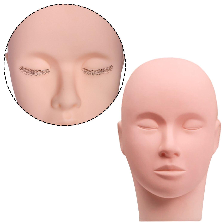 Maniquí estético cabeza de goma entrenamiento cabeza de entrenamiento cosmetología maniquí muñeca cabeza de cara para pestañas práctica de maquillaje SPEEDWOW 20 piezas 17mm tuerca de la rueda perno de la cabeza tapa de la tuerca de la rueda pernos de tornillo de la rueda