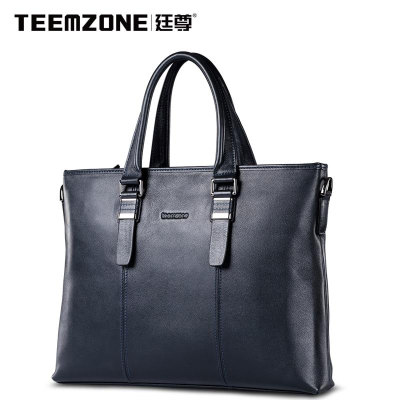 2017 Famous Teemzone Brand Mens Black Fashion Large Capacity Shoulder Handbag Designer Mens Genuine Leather Messenger Tote Bag