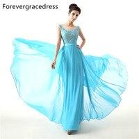 Forevergracedress 2017 New Long Bridesmaid Dress Cheap A Line Sleeveless Lace Chiffon Backless Wedding Party Dress