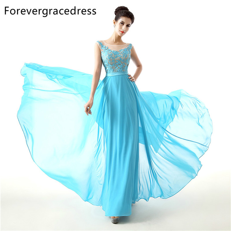 Forevergracedress 2018 New Long   Bridesmaid     Dress   Cheap A Line Sleeveless Lace Chiffon Backless Wedding Party Gown Plus Size