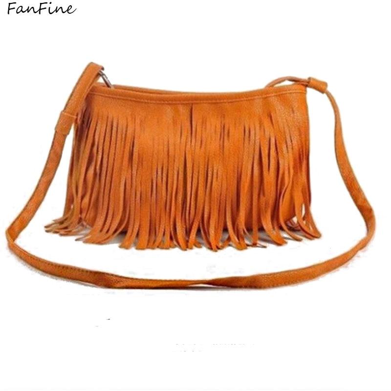 FanFine hot Brown black Handbags Women Shoulder Fringed Messenger Bag Tassel Boho Bags Saddle Hippie Gypsy Vintage Bohemian Bag