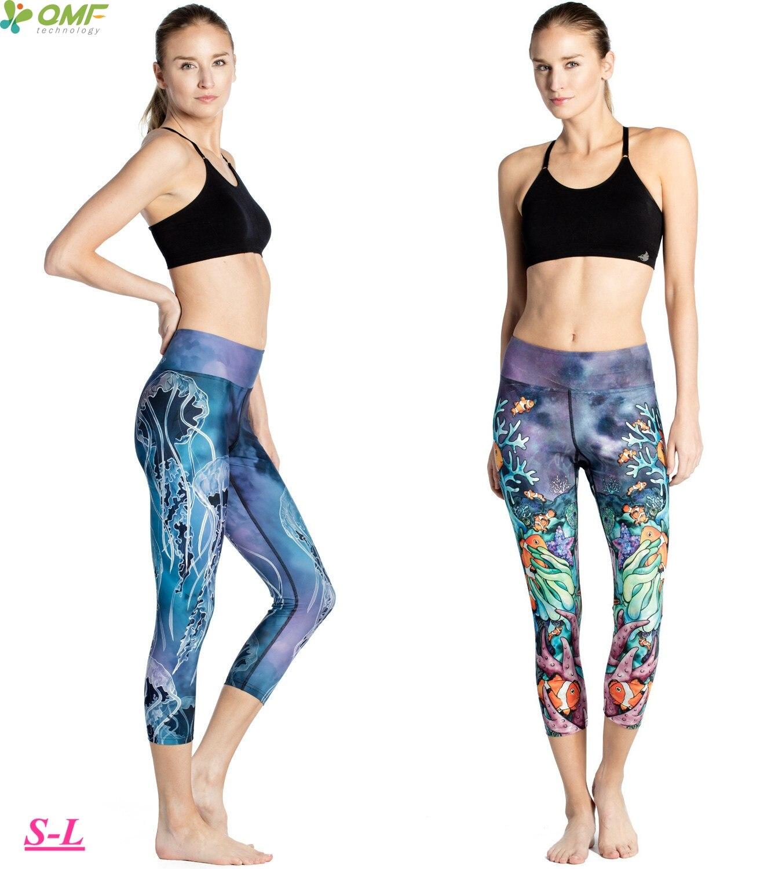 Sportbekleidung Treu Unterwasserwelt Ernte Yoga Leggings Quallen Sport-laufende Capris Strumpfhose Blau Gestreckt Schlanke Fitness Gym Workout Hosen Frauen SchöN In Farbe Strumpfhosen