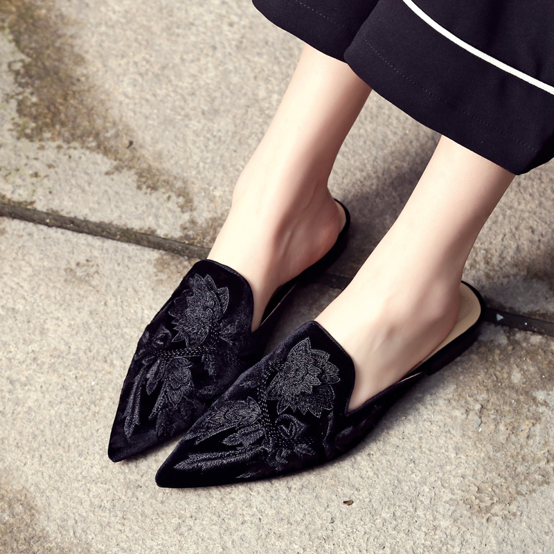 Kmeioo Loafers For Women Womens Embroidery Mule Shoes Backless Slip On Loafers Pointed Toe Flat Mule Slides Casual Ladies Shoes dansko women s pro xp mule