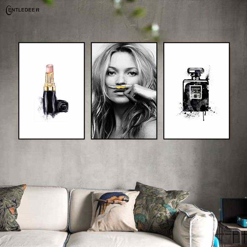 Abstract Nordic Decorative Black Perfume Brand Luxury Canvas Painting Poster Print Art Picture For Living Room Wall Home Decor