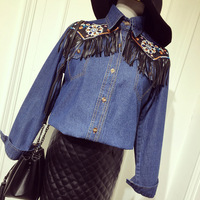 2017 Vintage Embroidered Tassel Women Denim Shirt Jean Jumper Tops For Ladies European American Style Woman