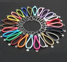 EUBFree llaveros de 40 colores, cuerda trenzada de cuero, llaveros tejidos a mano, llavero con anilla de cuero para llaveros de coche