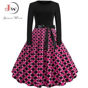 Frauen Elegante Vintage Kleid Polka Dot Gedruckt Party Kleid Vestidos Langarm Casual A-line robe Retro Kleid Plus Größe