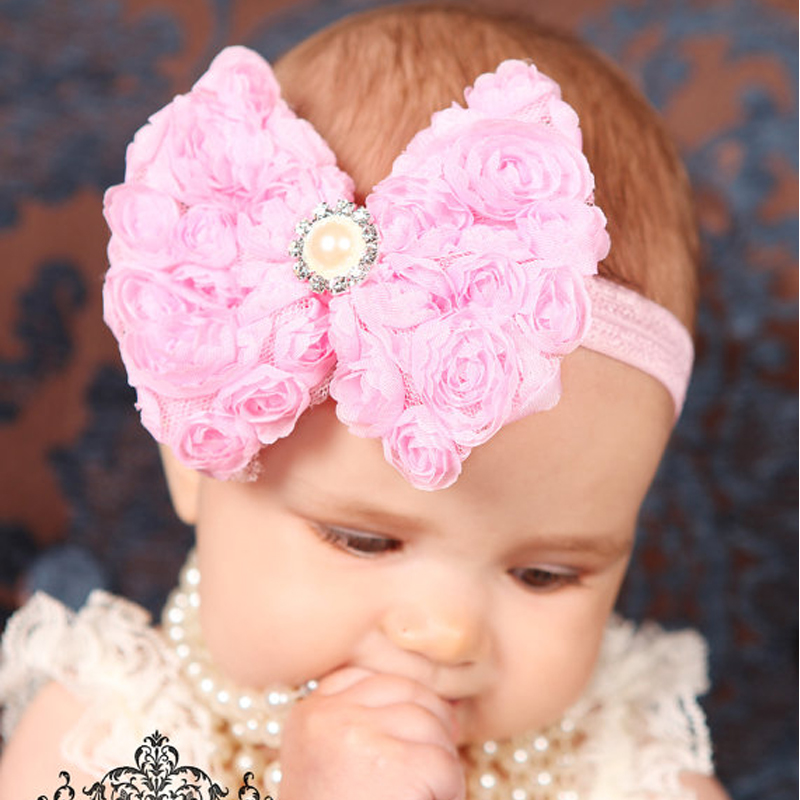 Huvudbonader Hårband Pearl Diamond Europeisk och amerikansk mode Blommor Headband Kids Hair Accessories