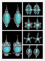 Série Earriings tibetano do Vintage brincos de prata turquesa pedra Austerian cristal brincos para mulheres