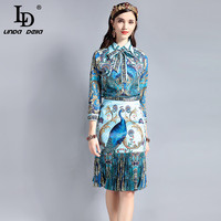 LD LINDA DELLA Vintage Designer Suit Sets Women S Long Sleeve Bow Collar Blouse Peacock Pattern