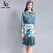 LD LINDA DELLA Vintage Designer Suit Sets Women's Long sleeve Bow Collar Blouse Peacock Pattern Print Draped Skirt 2 Piece Set