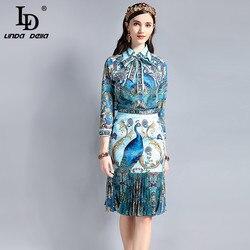 LD LINDA del traje del diseñador de la vendimia establece la Blusa de manga larga del cuello del arco del Pavo Real patrón de impresión falda drapeada conjunto de 2 piezas