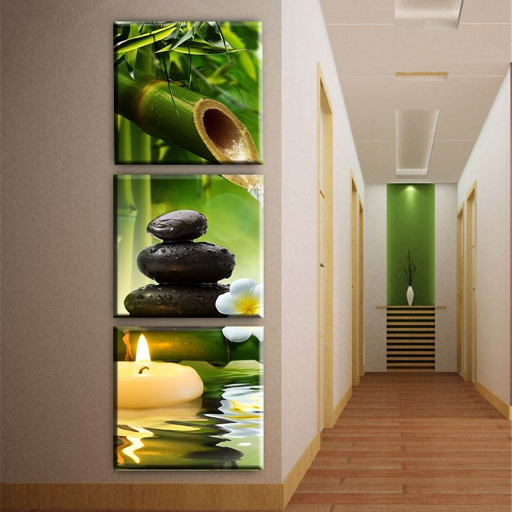 Bamboo Room Decorations: Unframed Canvas Wall Art Pictures Home Decor 3 Pieces